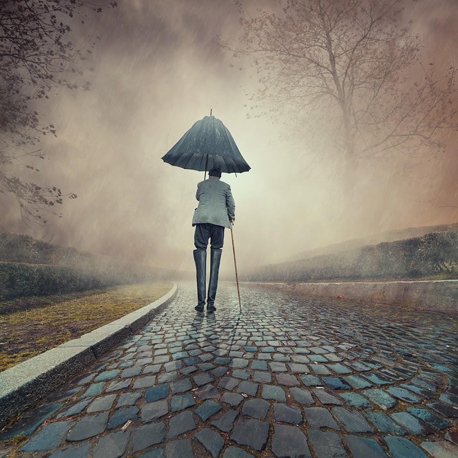 Over protected by Caras Ionut - Digital Art People ( old, tutorials, cementary, umbrella, avatar, manipulation, waliking, psd, cold, fog, woman, dark, night, boots, man, rain, photoshop, mist )