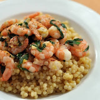 Chili, Lemon, and Basil Shrimp with Israeli Couscous.