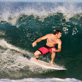Charging by Julie Steele - Sports & Fitness Surfing ( steele, surfer, charging, wave, barrel )