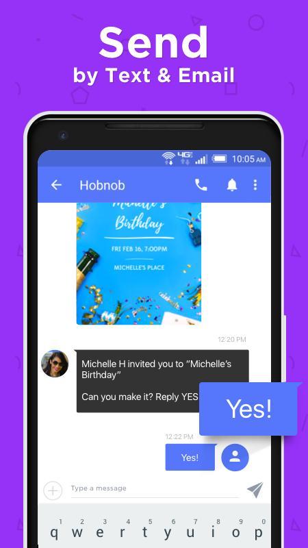 hobnob invitations  invitation maker  u0026 text rsvp