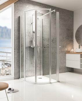 Paroi de douche en U, rayon 55 cm, Bella Lux II Garant, avec 1 paroi latérale