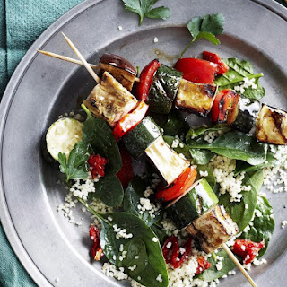 Vegetable Skewers with Parsley and Cashew Pesto