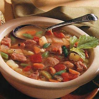Smoked Ham, Barley, and Vegetable Soup