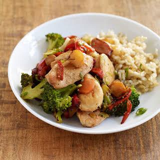 Ginger-Garlic Chicken Stir-Fry with Rice.