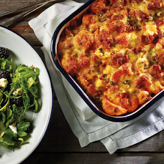 Buffalo Chicken and Potato Casserole with Blackberry Salad.