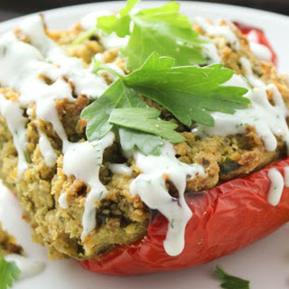 Falafel-Stuffed Peppers With a Coconut-Dill Sauce [Vegan].