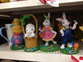 Photo: I decided at this point that I needed two figurines for my table, so I would a sheep and the duck OR the two Easter bunnies.