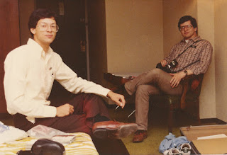 Photo: K5GN and W2PA at the 1982 Dayton Hamvention (W2SQ photo), W2PA about to take the next picture.