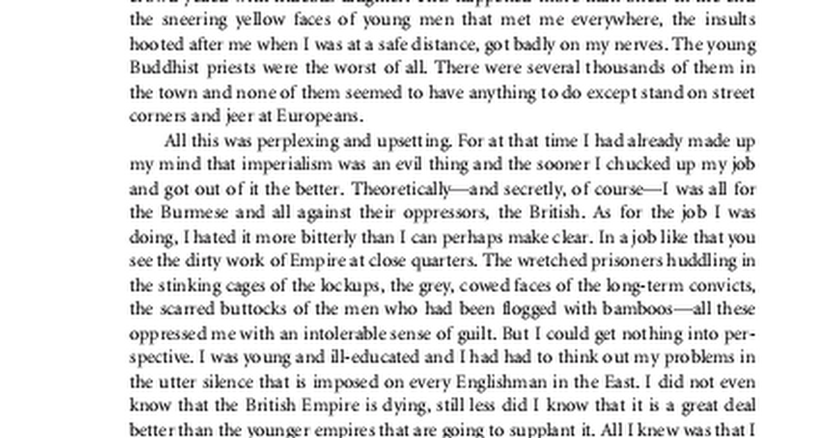 the effects of the british colonization on burma depicted in george orwells essay shooting an elepha