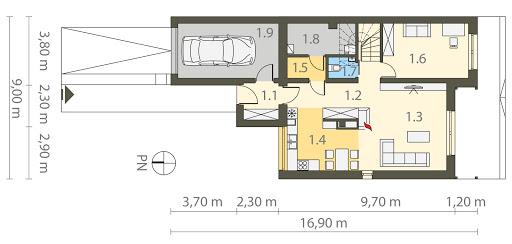 Twin Modern A - Bliźniak - Rzut parteru