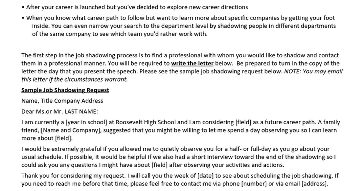 how to write a job shadow request