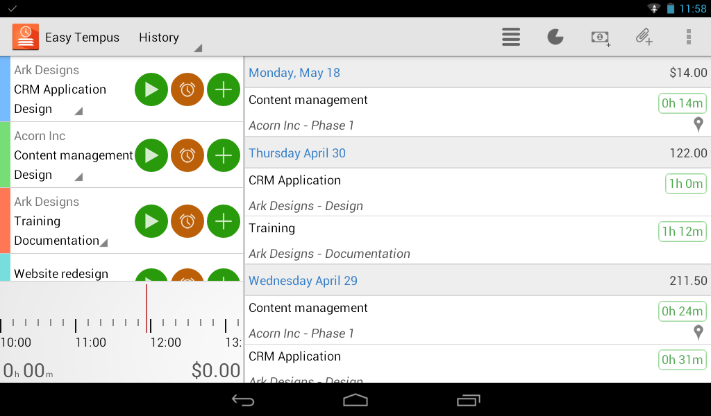 Timesheets and Invoices - screenshot