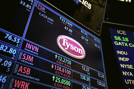 Chick down:   A monitor displays Tyson Foods signage on the floor of the New York Stock Exchange on Monday. Picture: BLOOMBERG