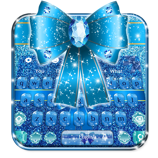Blue Glitter Bow Knot Keyboard Theme🎀