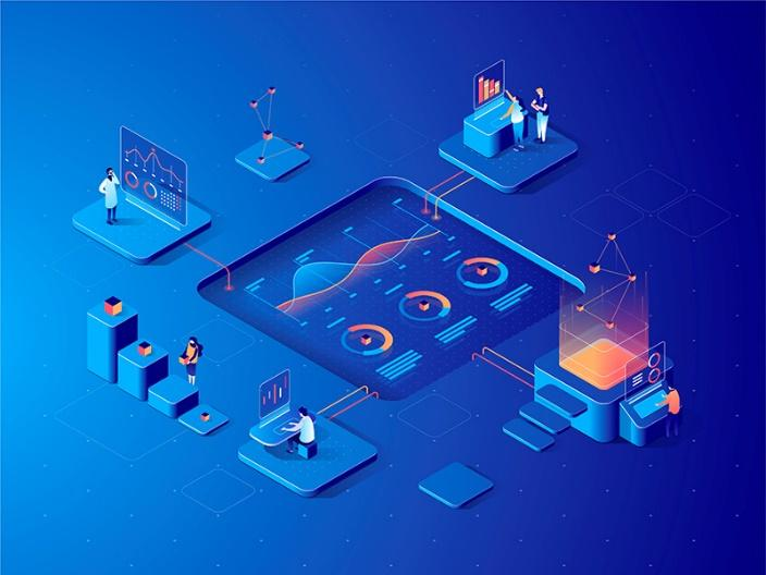 Isometric data analysis concept dmit characters collaboration isometric dudes 3d illustration people data diagram