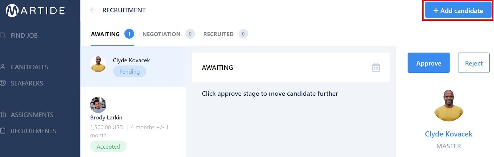 screenshot of the Martide website showing the add candidate button.