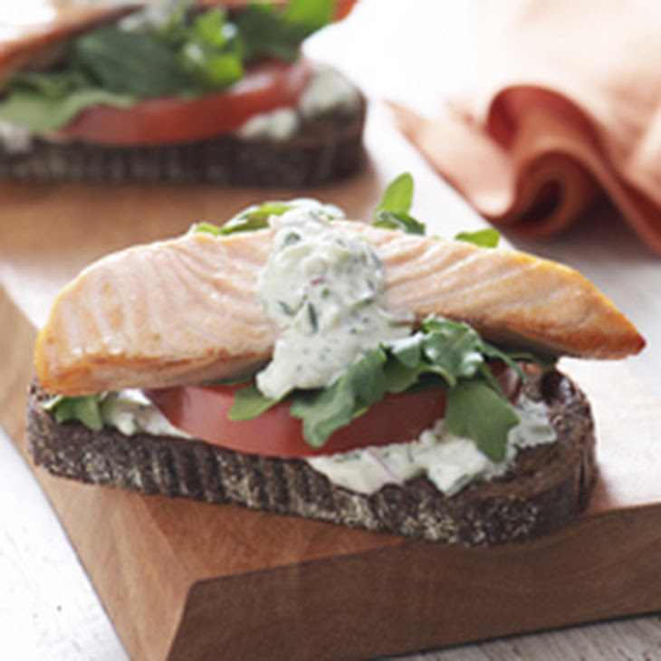 Open-Faced Salmon Sandwiches with Herb Cucumber Relish Recipe