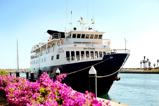 Safari-Voyager-docked.jpg - Safari Voyager, undergoing refurbishment in 2016, calls on small ports in Costa Rica and Panama.