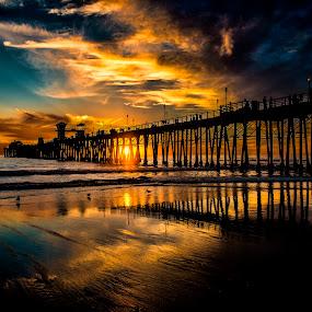 Oceanside Pier by Alan Crosthwaite - Landscapes Beaches ( water, oceanside, southern california, sea, tourism, travel, beach, coastal, beaches, san diego, piers, pier, wooden piers )