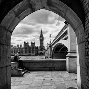 Alone by Anz Defensor - Black & White Street & Candid ( big ben, alone, london, street, solo, black and white )