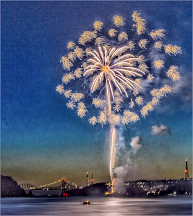 Bombs bursting in air by Jamie Valladao - Digital Art Places ( benicia, bright, straits, fireworks, bursting, ca,  )
