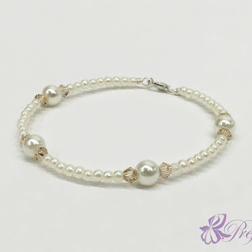 [PLC021] 簡約風珍珠水晶手鐲 (淺茶)