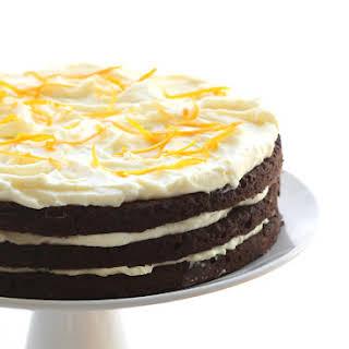 Chocolate Cake with Orange Mascarpone Frosting.