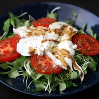 Tomato and Mozzarella Salad with Microgreens.