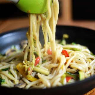 Stir Fried Udon Noodles with Vegetables.