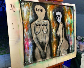 Photo: Life Sentence. 25 x 29 inches or 64 cm x 74 cm. Gesso, acrylic paint, chalk, charcoal, india ink, colored pencils, and spray paint on a West Virginia road map.  Sealed with a matte finish. Signed on the front. Title and signature on the back. ©Marisol McKee