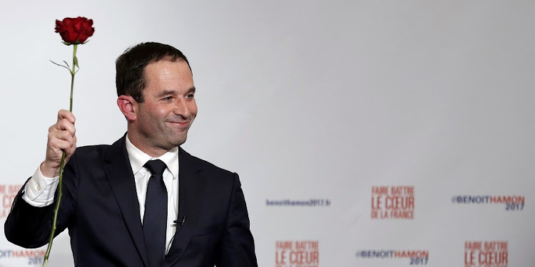 Former French education minister Benoit Hamon reacts after results in the second round of the French left's presidential primary election in Paris, France, on Sunday. Picture: REUTERS