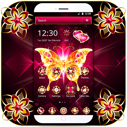 Golden Butterfly Dark Pink Gemstone Theme