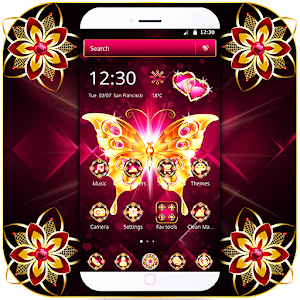 Golden Butterfly Dark Pink Gemstone Theme Icon