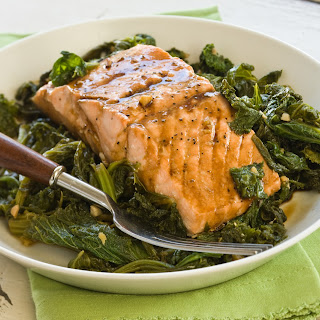 Steamed Wild Salmon with Mustard Greens Recipe