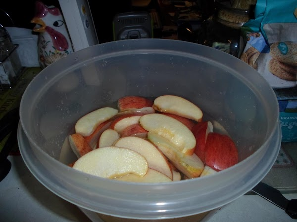 Place apples in water to keep from turning brown.