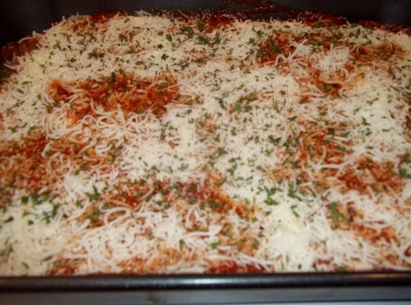 Repeat one more time, rigatoni, 1 - 1/2  cup of cheese, sauce.Top with...