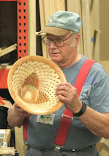 Photo: The first of Bob's two open-segmented bowls has a marquetry bottom...