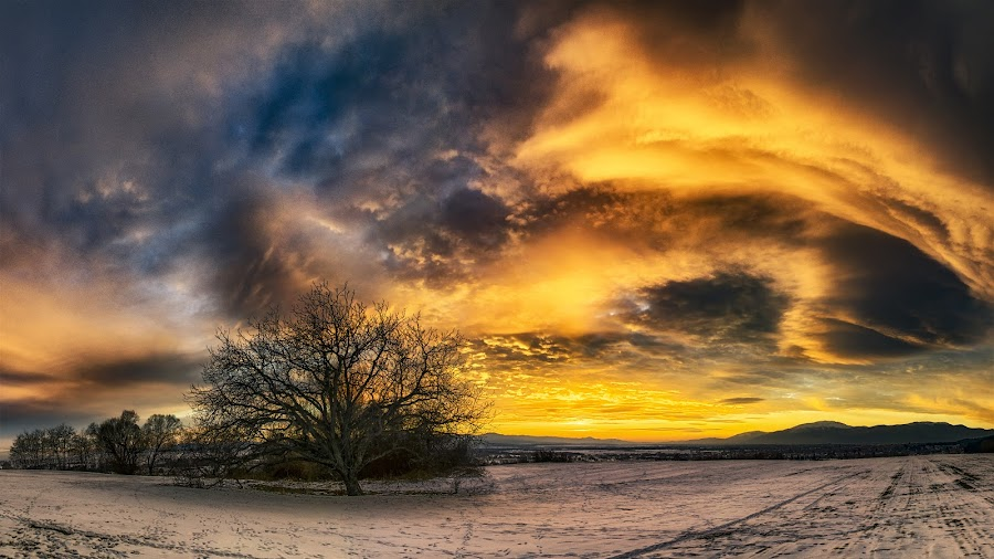 At sunset by Plamen Petkov - Landscapes Sunsets & Sunrises ( clouds, winter, sky, colorful, colors, sunset, landscape )