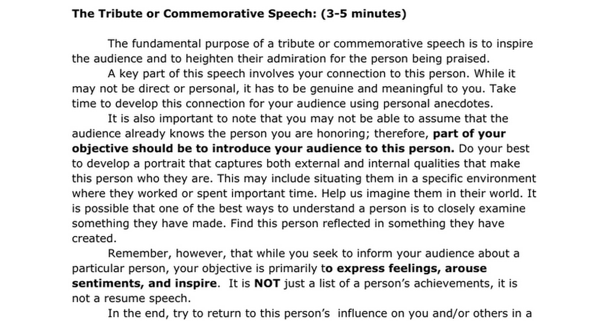 Tribute Speech guidelines Google Docs – Ceremonial Speech Example Template