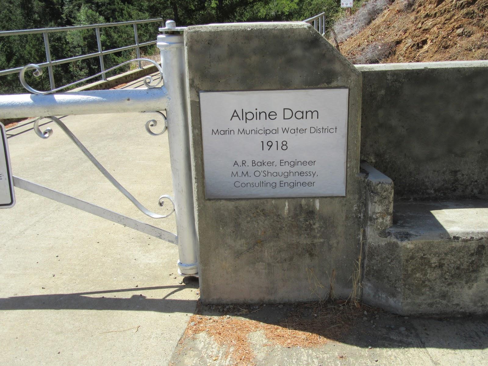 Bike climb Mt. Tamalpais from Alpine Dam - sign at Alpine Dam
