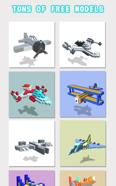 Planes 3D Color by Number: Voxel Vehicles Coloring Android App Screenshot