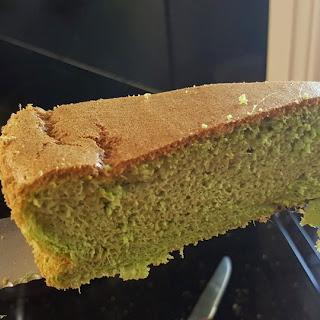 Hi-fibre Sugarless Gluten-free Vegetarian Pandan Cake.