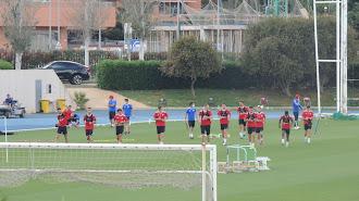 Los jugadores del Almería en el campo Anexo.
