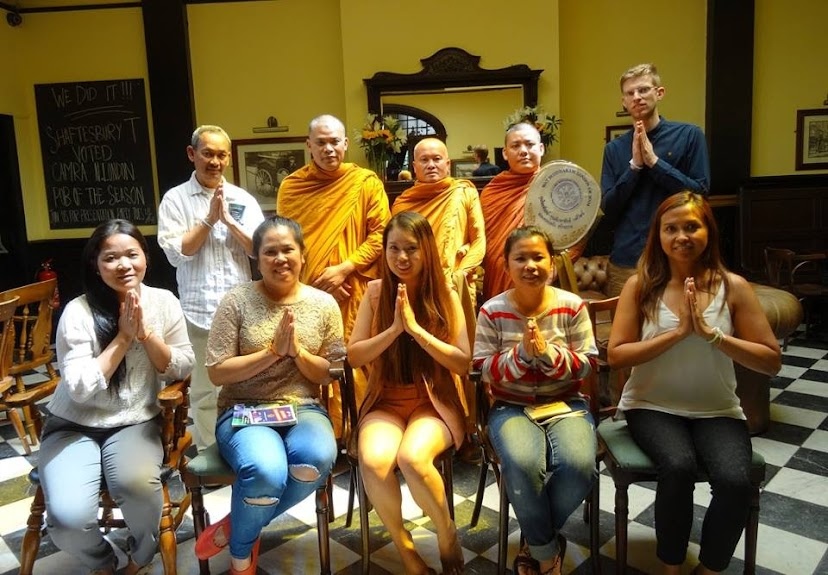 Mr. Joe & Lily Bishop, Friends and Staff of Shaftesbury Tavern have invited Buddhist Monk for their Pub blessing  6 July 2015