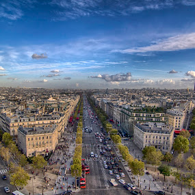 Paris - Top View from Arc de Triomphe by Rajarshi Chowdhury - City,  Street & Park  Skylines ( paris, sky, grandeur, top view, grand, arc de triomphe, france, cityscape, architecture, landscape, pwcskylines, city )