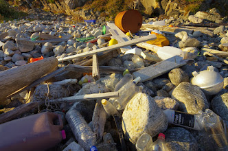 Photo: A litter ifested piece of coastline outside Tromsø.