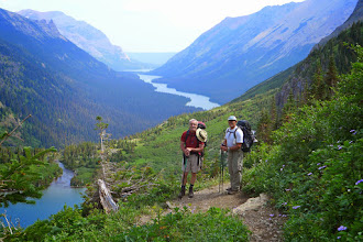 Photo: Murray and Greg above Glenns Lake with Cosley Lake in the distance - On night #3 we camped at the far end of the Glenns Lake.