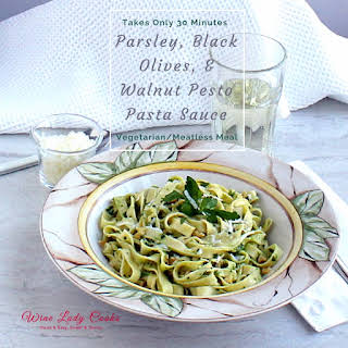 Parsley Black Olive Walnut Pesto Pasta Sauce.