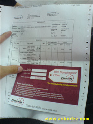 My invoice and a free wheel alignment and balancing service coupon