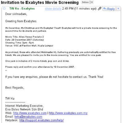 Exabytes invitation for movie screening